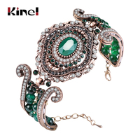Kinel Luxury Vintage Big Bracelet Green Natural Stone Crystal Beads Bangle For Women Fashion Antique Gold