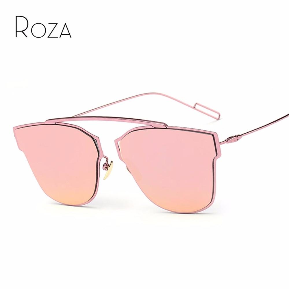 ROZA Women's Sunglasses Single-Nose Design Flat Lens Brand Full Metal Frame Sun Glasses Oculos De Sol UV400 QC0329