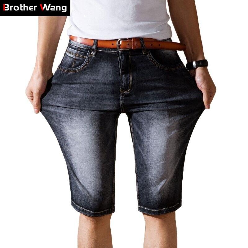 Jeans Shorts Elasticity Casual Summer Denim New-Fashion Brand Blue Male Thin Dark-Grey