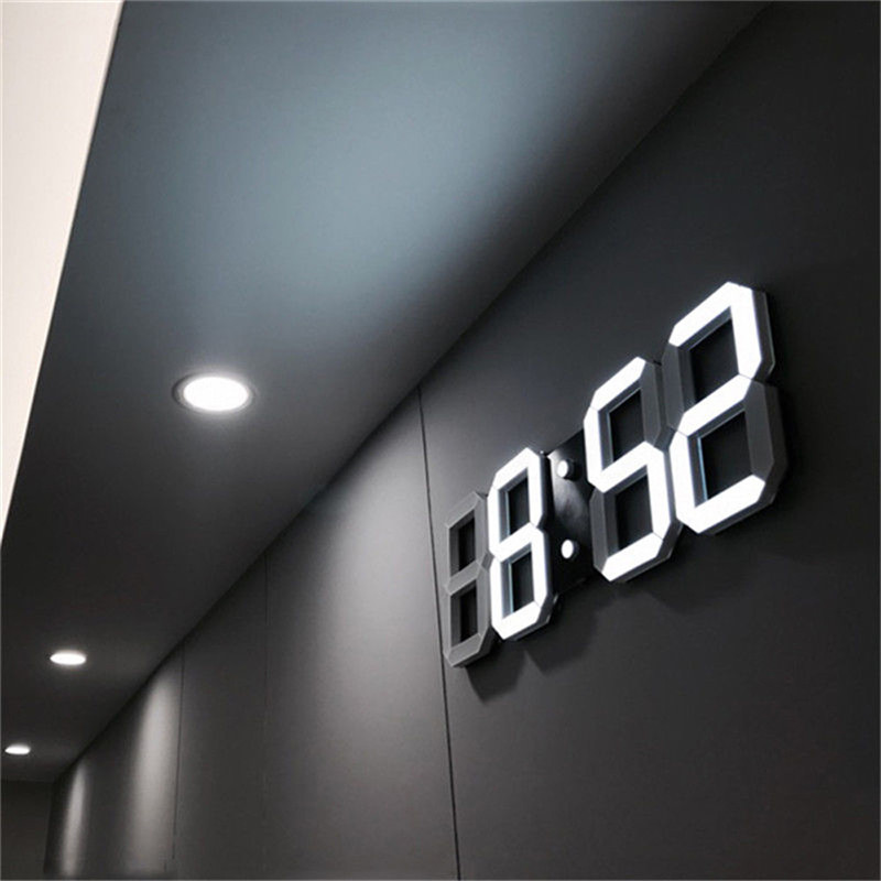 Digital Wall Clock 3D LED Alarm Clock Electronic Desk Clocks with Large Temperature 12/24 Hour Display-in Wall Clocks from Home & Garden