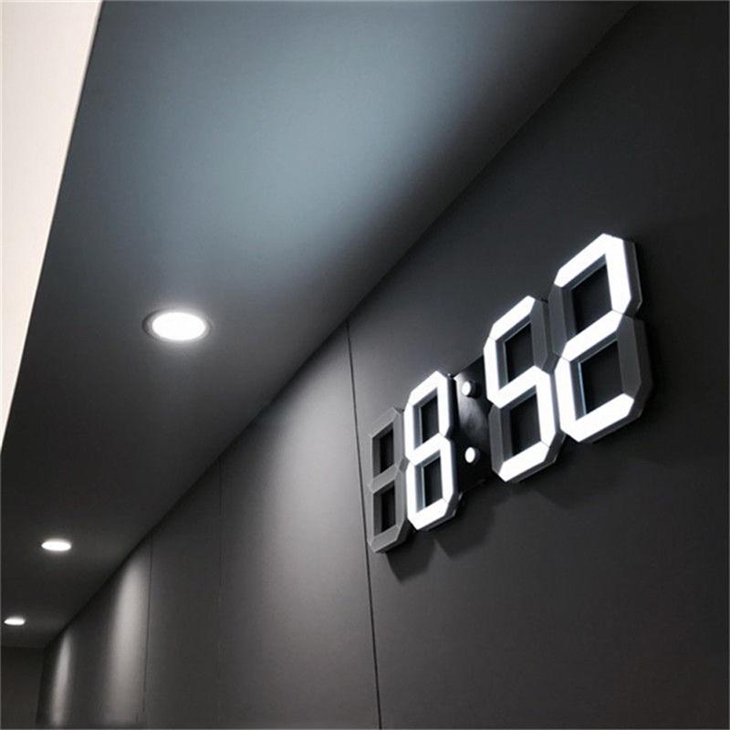 Digital Wall Clock 3D LED Alarm Clock Electronic Desk Clocks With Large Temperature 12/24 Hour Display