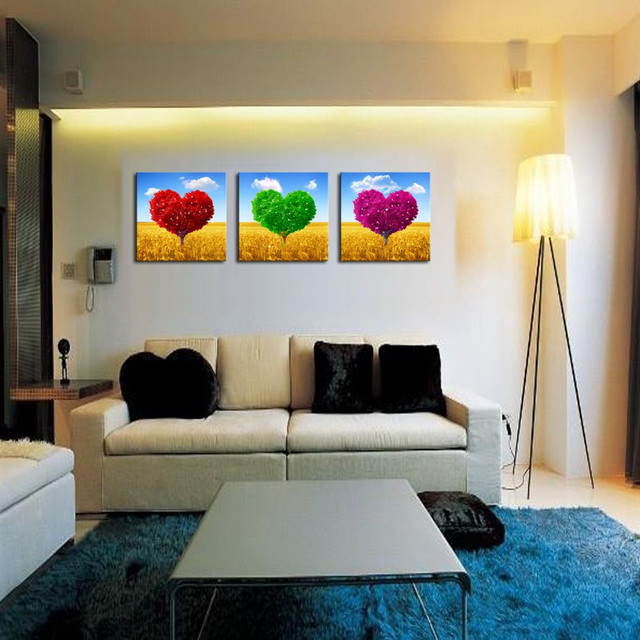 3 Stück rot grün rose heart shaped tree Wandmalerei Home Wohnzimmer ...