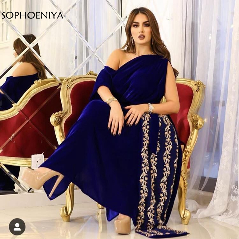 New Arrival Royal blue kaftan dubai   evening     dresses   2019 Beading Lace   Evening   gowns   dress   Arabic Party   dress   formal   dresses