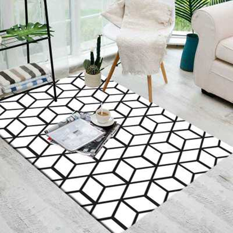 Nordic Style Rectangle Carpet 3D Stereo Geometric Black And White Pattern Bedroom Coffee Table Bedside Living Room Rugs/carpets