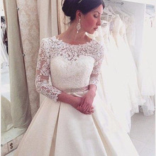 2019 New Wedding Dresses Appliques Long A-Line 3/4 Sleeves Lace Backless Saudi Arabic Gown Bridal