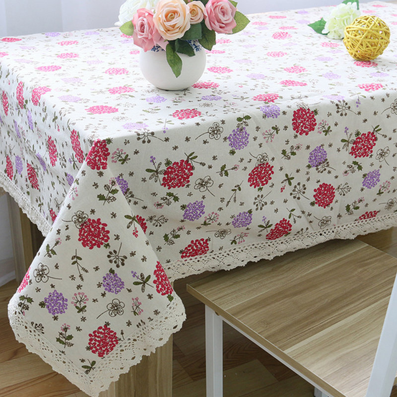 New Arrivals Cotton Linen Table Cloth For Rectangular Table Cover Cloth  With Lace Edge More Fashion Hot Sale