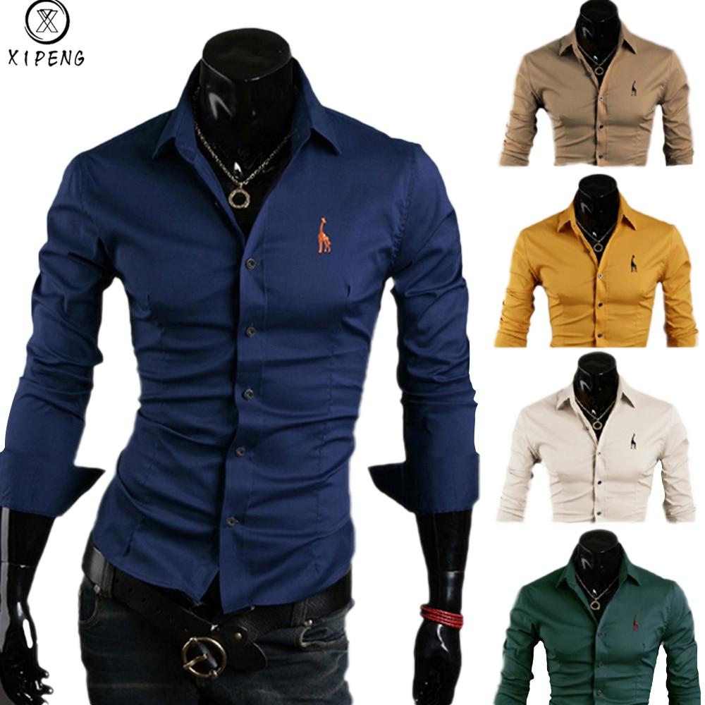 XIPENG New Mens Shirt Long Sleeve Chemise Homme 2019 Fashion Design Mens Slim Fit Dress Shirts Casual Button-Down Shirts M-XXXL