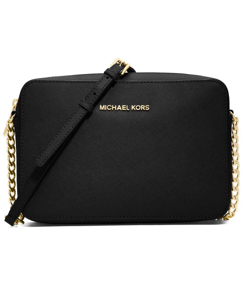 ... Michael Kors Jet Set East West Crossgrain Leather Crossbody  (Black/Gold) Luxury Handbags ...