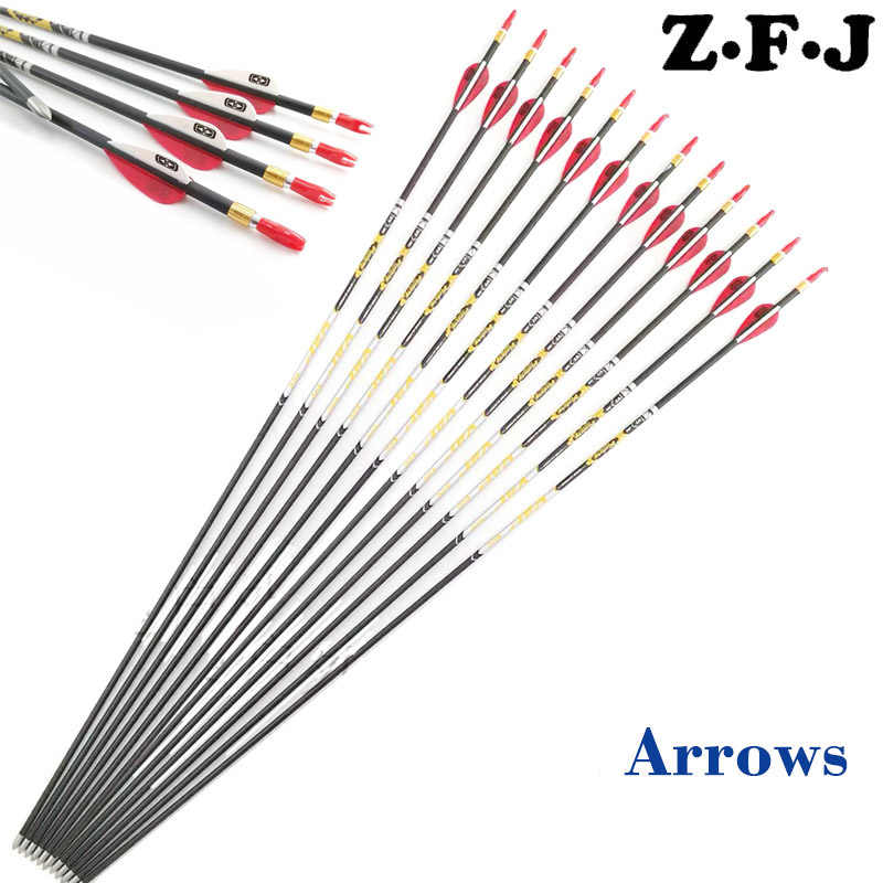 6/12 Sp350 400 450 500 600 700 750 800 Pure Carbon Arrow ID 4.2 mm 30.5inch Stainless Steel Point Recurve Bow Hunting +/- .001""
