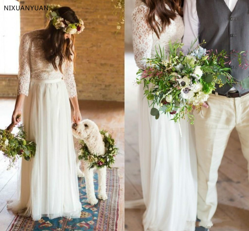 2019 Bohemian Dress Vintage Lace Boho Beach Wedding Dresses Long Sleeves Button Back Country Cheap Wedding Gown Bridal Gowns