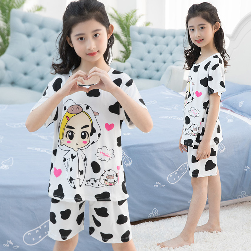Big Girls Clothings Summer 2018 2Pcs Baby Boys Cows Print Pajamas Sets Kids Homewear O-Neck Childrens Sleepwear Hot Sale S85713A
