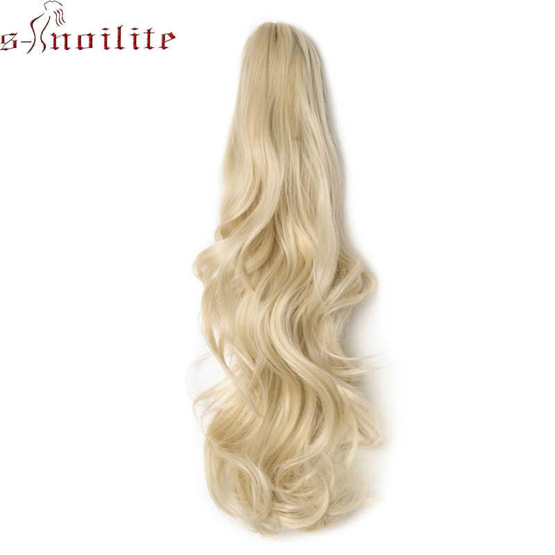 """S-noilite 18 """"длинные волнистые конский хвост накладные хвостики на зажиме синтетические заколки для волос в хвосте пони волосы для наращивания кудрявый стиль шиньон"""
