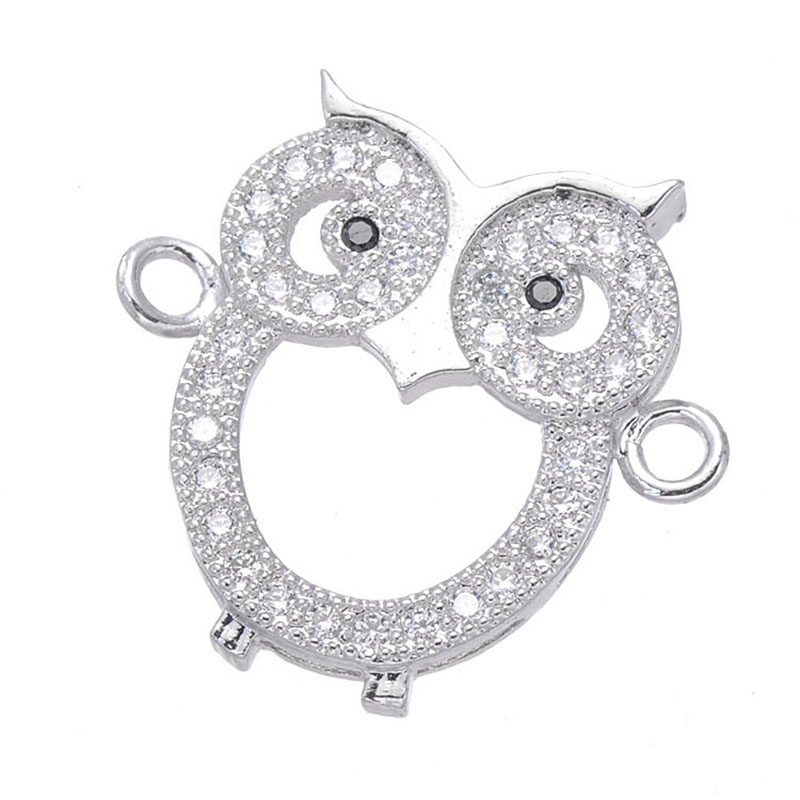 5 pcs Micro Pave Jewelry Cute Zircon Owl Charms For Jewelry Making Bijoux Copper Animal Connectors Jewelry Components Diy Gift