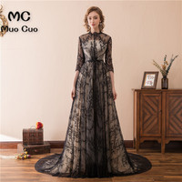 2018 Prom Dresses For Women With 3 4 Sleeves Vestidos De Fiesta Count Train Lace Up