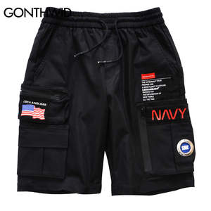 GONTHWID Trousers Short-Pants Multi-Pockets Streetwear Hip-Hop Baggy Summer Mens Casual