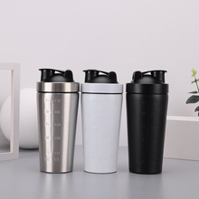 750ML protein shake cup creative stainless steel single-layer sports kettle with scale stir customized