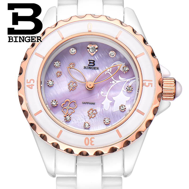 Genuine Luxury BINGER Brand Women ceramic sapphire table love flower ladies watches female form shell purple surface waterproof binger genuine gold automatic mechanical watches female form women dress fashion casual brand luxury wristwatch original box