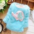 Autumn Winter Cartoon Elephant Baby Fleece Velvet Kids Girls Knitting Sweater Outwear Pullover Tops S2460