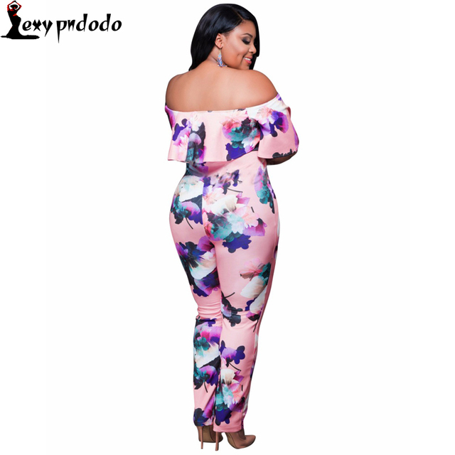ab49f37469 2016 Autumn Fashion Off Shoulder Print Plus Size Rompers Womens Jumpsuit  Outfits Sexy Bodycon Jumpsuits combinaison femme yeezy-in Jumpsuits from ...