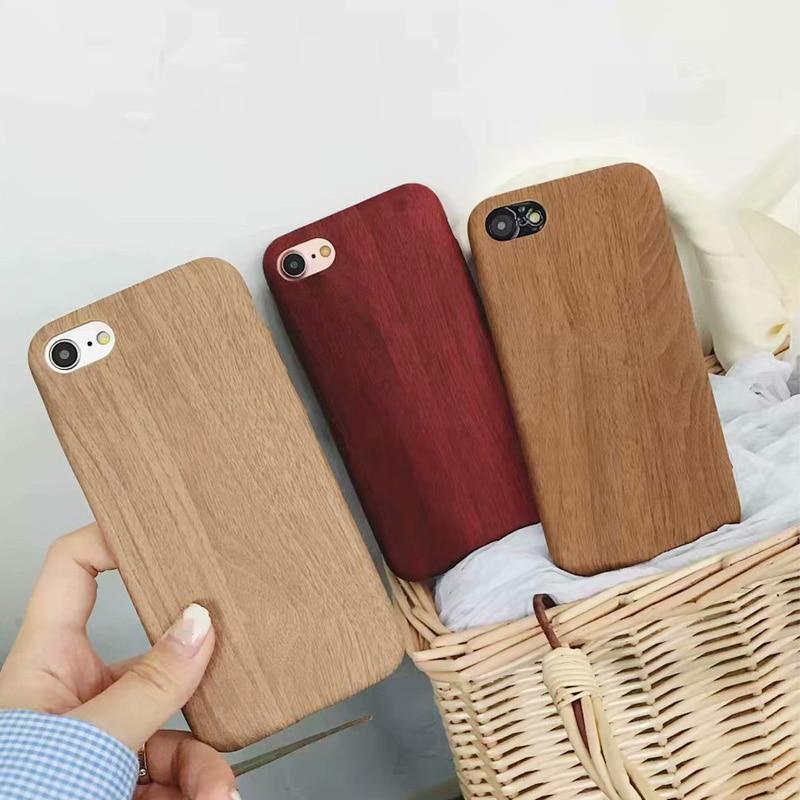 13894b557b5 Ultra fino de madera de grano PU Funda de cuero para iPhone 6 6 S 7 7 más 5  5S suave contraportada slim de lujo de madera patrón teléfono casos