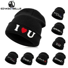 bd5c5d27fa9 Beanie Hat Skullie Cap Slouchy Winter Autumn Embroidery Quote Slogan Motto  Words Cool Punk Men Women · 25 Colors Available