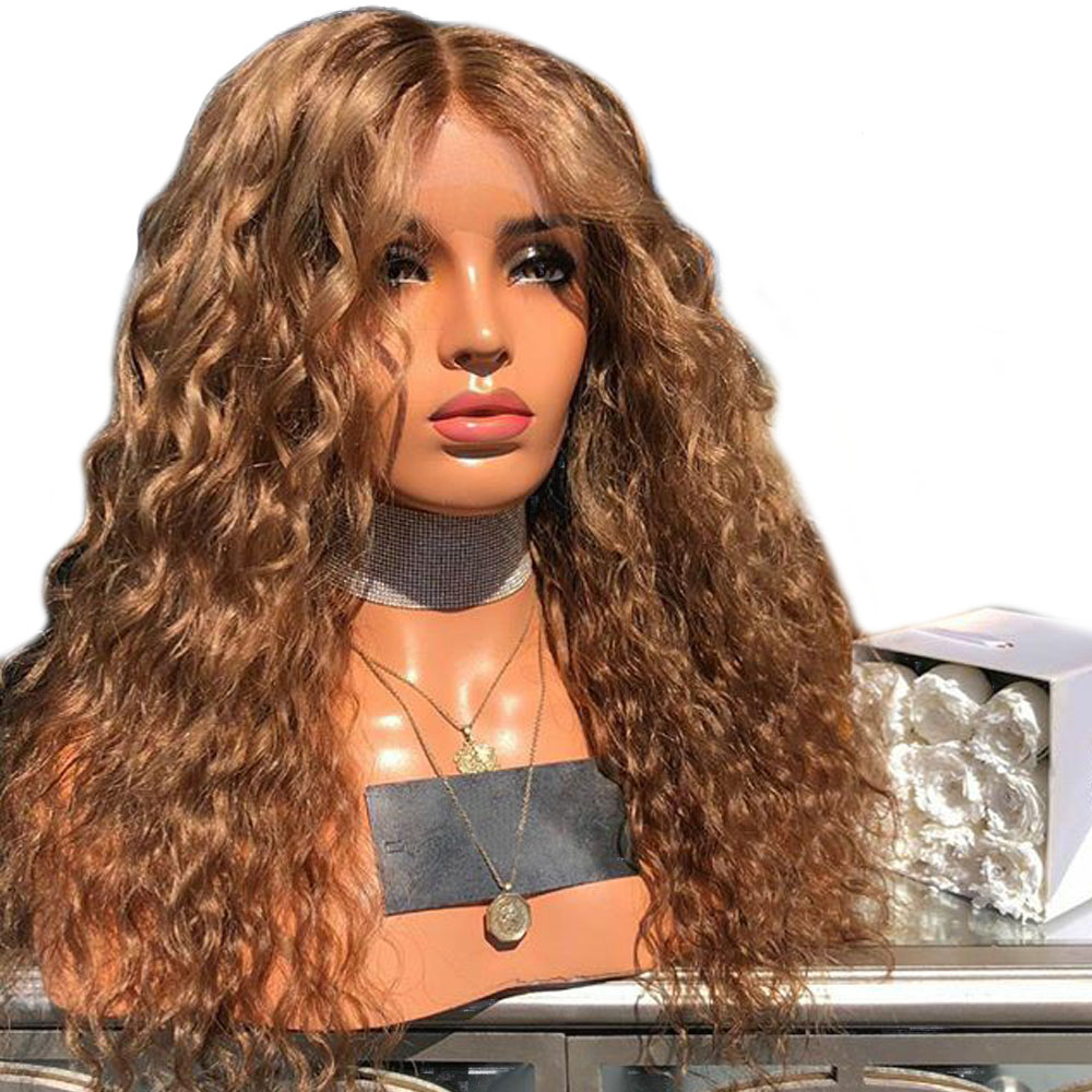 Honey Blonde Lace Front Curly Human Hair Wigs For Black Women Deep Part 13x6 Lace Front Wigs With Baby Hair Pre Plucked Lace Wig