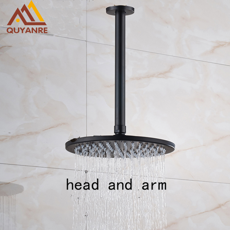 Free shipping Black Brass Shower Head Ceiling Mounted with Shower Arm Rainfall Shower Sprayer Head 1 piece free shipping anodizing aluminium amplifiers black wall mounted distribution case 80x234x250mm