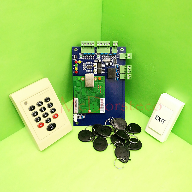 One Door RFID Access Control System Single Door Access Panel TCP/IP Access Controller+ Keypad Rfid Reader + eixt Button biometric fingerprint access controller tcp ip fingerprint door access control reader
