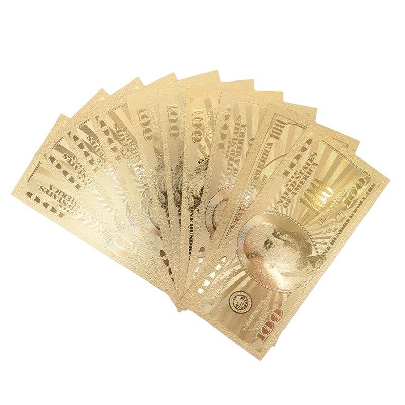 10 Uds. De billetes de oro de 100 dólares de EE. UU., papel de dinero, medalla de moneda, 24k, Estados Unidos de América