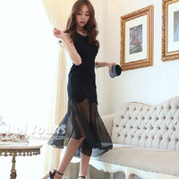 2014 Plus Size Spring And Summer Fish Tail Patchwork Chiffon Sleeveless One Piece Dress