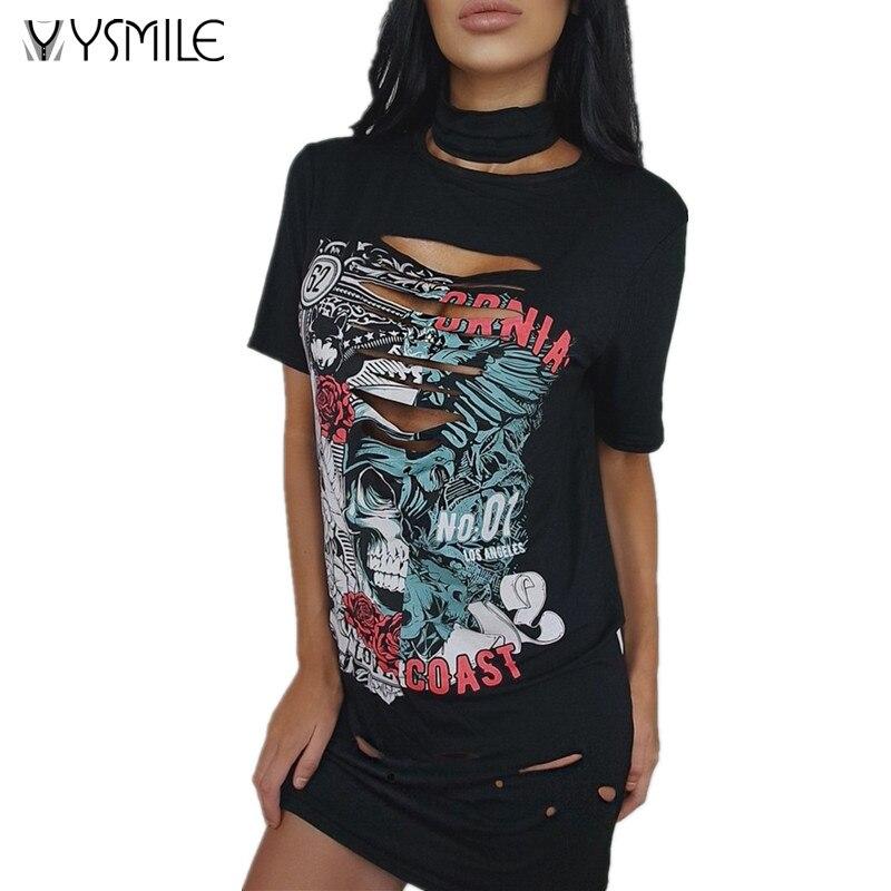 2017 New Brand Women T-shirt Ripped Oversize Sexy Punk Style Skull Black Long Shirt Club Streetwear Choker T-shirt Lady Tops