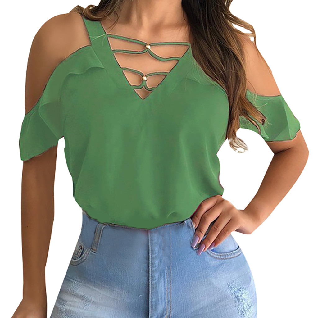 JAYCOSIN 2019 New Summer Women T-shirt Sexy Fashion Elegant Short Sleeve Off Shoulder Solid V-Neck Tops Casual Bandage 9040832
