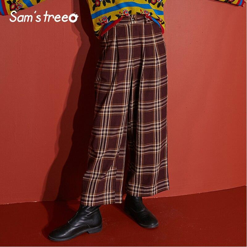 Samstree ลายสก๊อตสีแดง Brit กราฟิกกางเกงผู้หญิง 2019 ฤดูใบไม้ร่วง Elastic เอวกว้างขาอังกฤษสำนักงานกางเกงกางเกง-ใน กางเกงและกางเกงรัดรูป จาก เสื้อผ้าสตรี บน AliExpress - 11.11_สิบเอ็ด สิบเอ็ดวันคนโสด 1