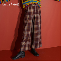 Samstree Vintage Winter Women Pants Sheer Cotton Loose Wide Leg Pants Plaid Female Casual Full Length Trousers
