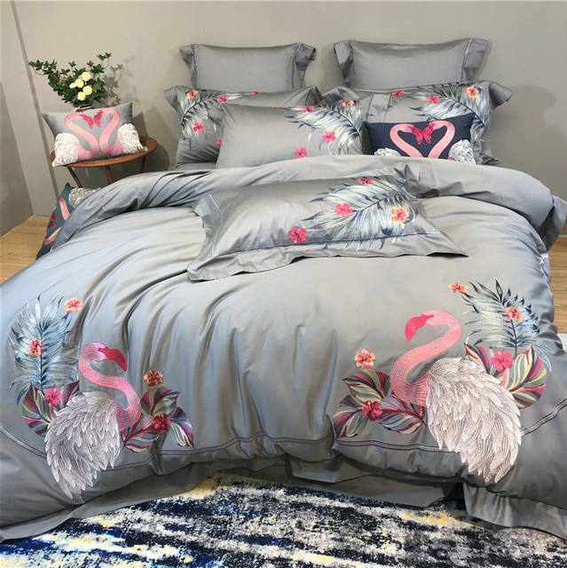 Luxury embroidery Bedding Sets 4/7pcs Flamingo Bed Linen Duvet Cover Bed Sheet Pillowcases Cover Set egyptian cotton bed set