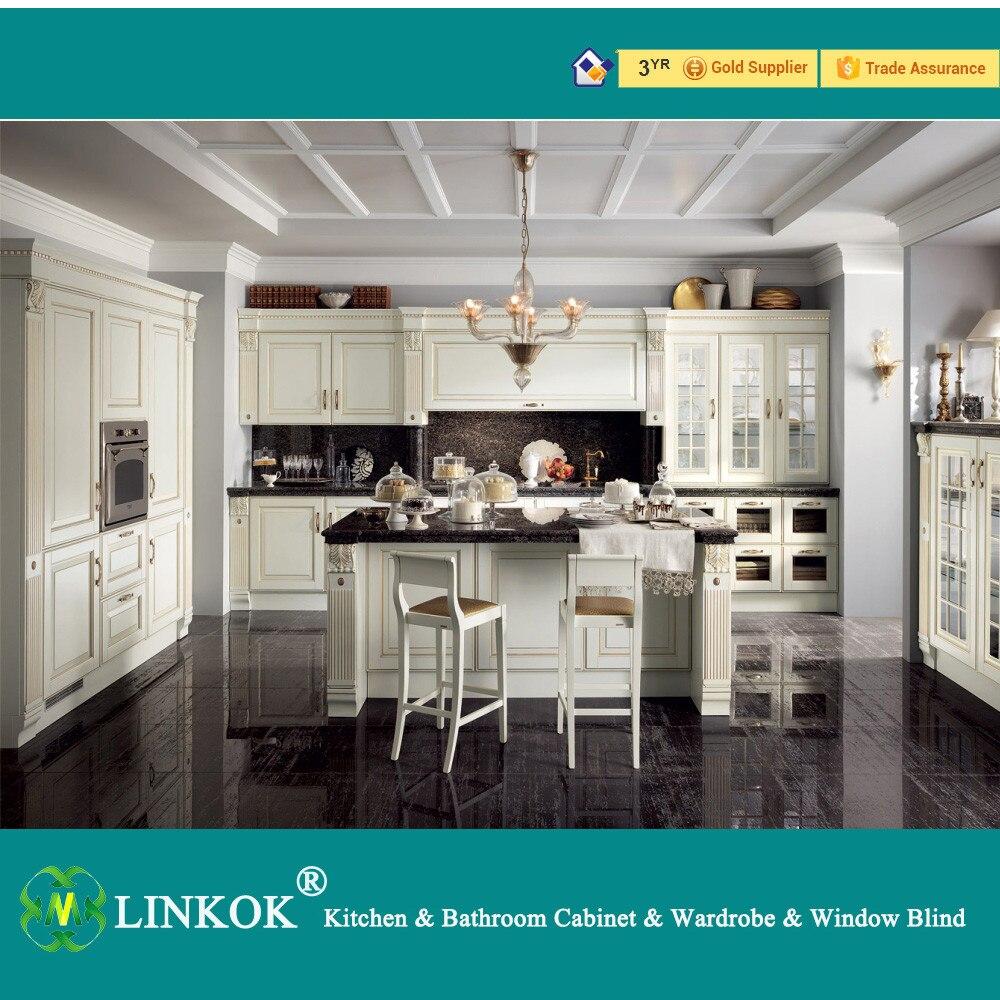 Estilo Europeo Muebles Linkok real blanco del gabinete de cocina de ...