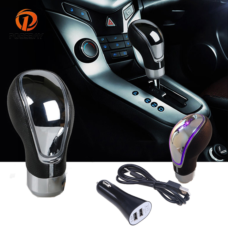 POSSBAY Touch Motion Activated Manual LED Car Shift Knob Shifter Lever Gear Knob Multi Color for VW Peugeot Mercedes Audi Ford