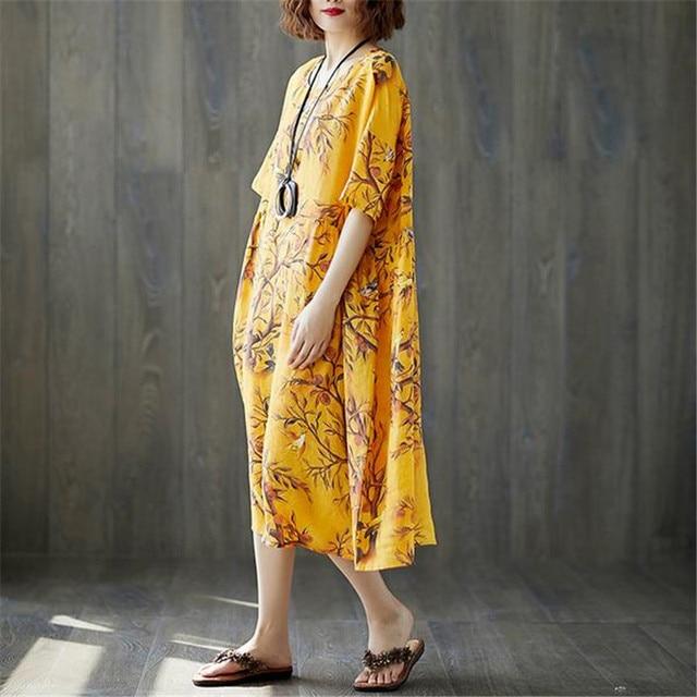 5338eb736f BUYKUD 2018 Summer Printed Linen Dress Plus size Casual Women Dress Short  Sleeve Comfortable Dress With Irregular Hem