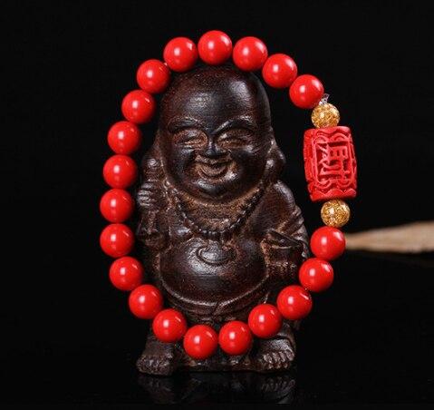 中国 8 ミリメートルビーズ弾性ブレスレット天然赤有機朱色ファッション男ahd女性幸運お守りギフト