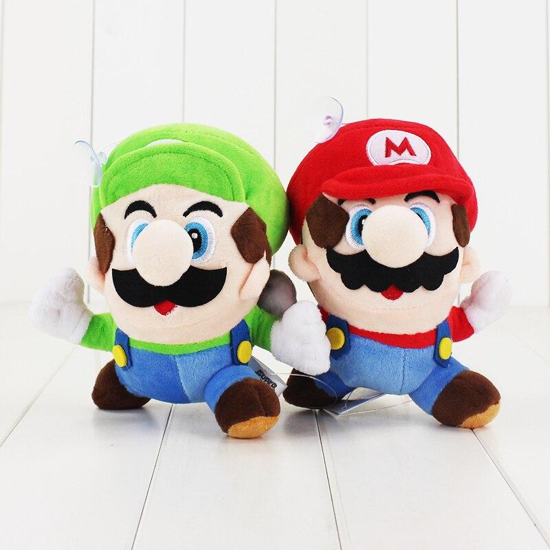 2 стиля 16 см Super Mario Bros Плюшевые игрушки Бег Mario Luigi мягкие Куклы для детей ...