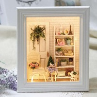 DIY Wooden Photo Frame With Furniture Light Model Building Kits 3D Miniature Dollhouse Puzzle Doll Assembling