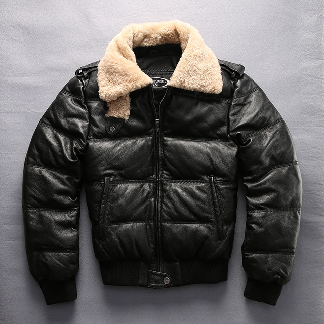 european size high quality super warm genuine cow skin leather jacket mens big size casual cowhide leather down jacket