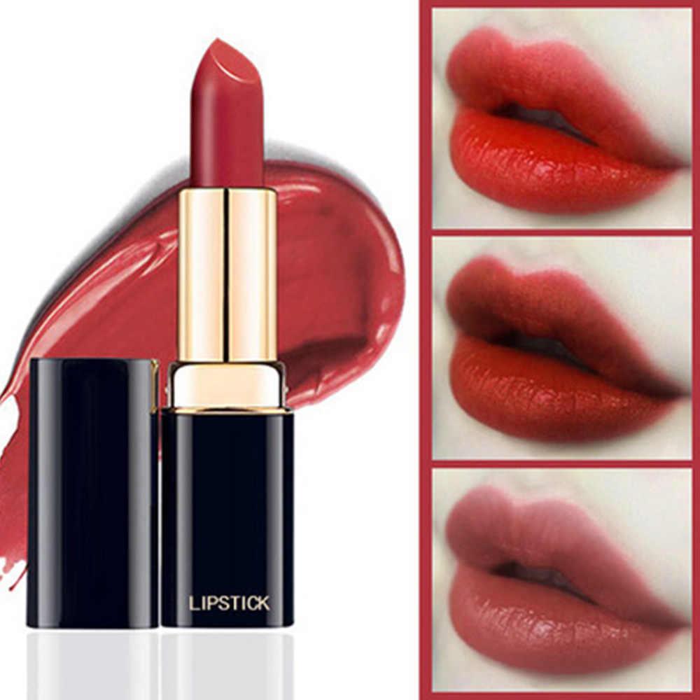 12 Warna Matte Lipstik Tahan Air Beludru Tongkat Bibir Pelembab Seksi Merah Hitam Warna Bibir