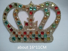 Big Pointback colorful crown iron on transfer patches hot fix rhinestone motif designs applique for shirt