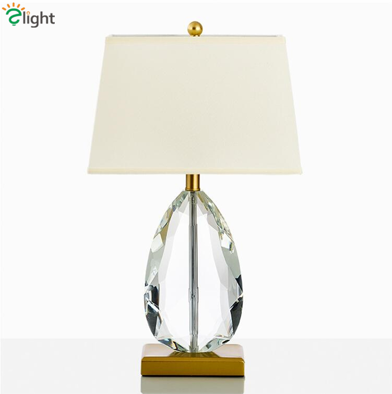 Deco Big Crystal Lustre Table Lamp Fabric Lampshades Desk Light For Living Room Bedsides Lamp Indoor