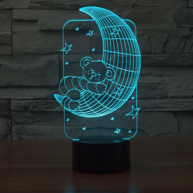 new moon bear 3D light colorful touch LED visual light gift atmosphere desk lamp