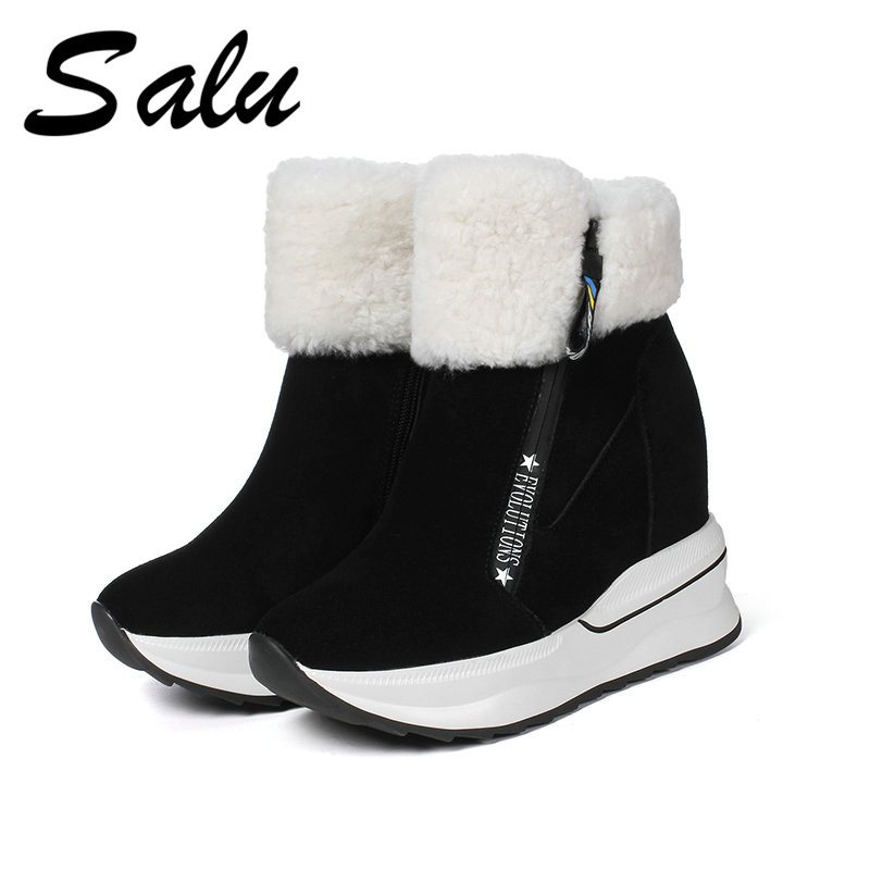 salu winter Women Boots Genuine Leather Ladies Shoes Platform High Heels Ankle Boots Fashion Female Booties lin king womens faux leather ankle boots platform high heel booties for women fashion buckle winter dress shoes martin boots