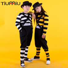 Funkystyle Children Locking Stripe Suit Clothes Clothing Hip Hop Dance Costumes Kids Dance Performance Bib Pants Unisex Locker цены