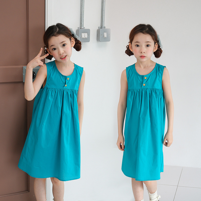 cotton kids clothes girls summer dress 2018 knee length sleeveless kids dresses girl green yellow blue mid long girls dresses цена