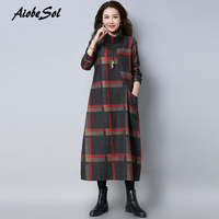 2017 Vintage Autumn And Winter Women Woolen Dress Elegant Plaid Print Turtleneck Long Sleeve Maxi Long